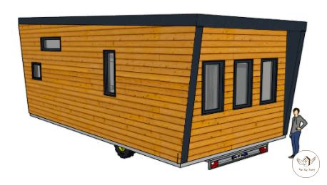 plan sketchup d'une tiny house sur remorque agricole